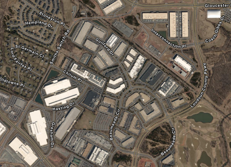 Aerial View of Data Center Alley